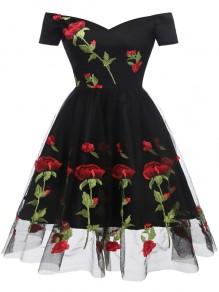 Black Flowers Grenadine Embroidery Off Shoulder Backless Elegant Party Midi Dress