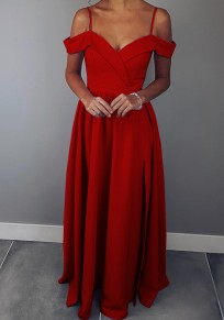 Red Spaghetti Strap Zipper Ruffle Off Shoulder Pleated High Waisted Elegant Maxi Dress