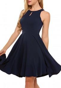 Midi-robe découpess boutons employé de bureau drapé / quotidien élégant bleu marine