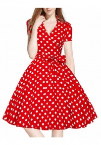 Red Polka Dot Sashes Bow Tutu V-neck Hepburn Elegant Party Midi Dress