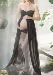 Black Grenadine Draped High Slit Off Shoulder Maternity For Babyshower Elegant Maxi Dress