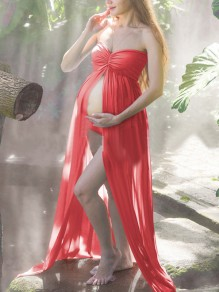 Red Grenadine Draped High Slit Off Shoulder Maternity For Babyshower Elegant Maxi Dress