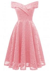 Midi-robe dentelle drapée épaules nues banquet v-cou élégante soirée rose
