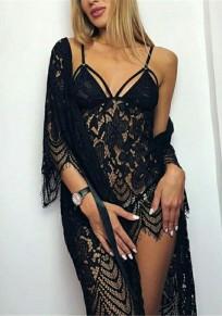 Midi-robe en dentelle fleurie à découpess 2-en-1 noire