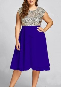 Blue Sequin Cascading Ruffle Glitter Plus Size High Waisted Elegant Party Midi Dress