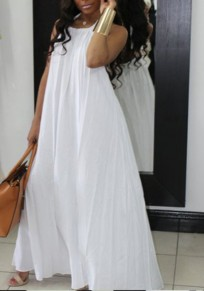 White Pockets Spaghetti Strap Halter Neck Backless Ruched Flowy Beachwear Party Maxi Dress