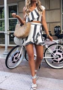 Mini abito A righe irregolari A balze asimmetriche A due pezzi da spiaggia grigio-bianco