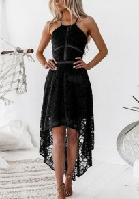 Black Lace Back Cross Swallowtail Spaghetti Strap High-Low High Waisted Party Maxi Dress
