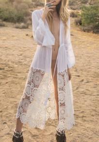 Vestido largo encaje cordón escote en V bohemio bata blanca blanco