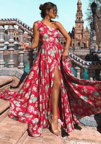 Red Floral Draped Bowknot Slit Asymmetric Shoulder High Waisted Bohemian Party Maxi Dress