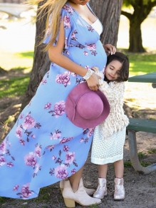 Blue Floral Print Draped Slit Sleeve V-neck Maternity Bohemian Elegant Maxi Dress