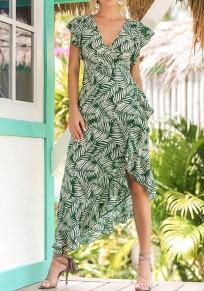 Maxi dress arricciatura floreale con v-collo irregolare verde