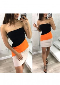 Orange Color Block Print Bandeau Fashion Mini Dress