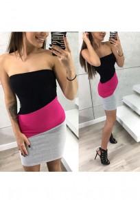 Rose Carmine Color Block Print Bandeau Fashion Mini Dress