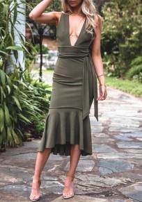 Army Green Sashes Ruffle Irregular V-neck Fashion Midi Dress