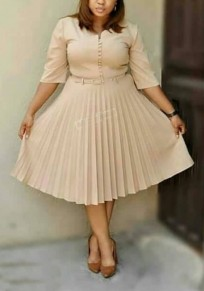Apricot Pleated Single Breasted Belt Bow High Waisted Ruched Elegant Party Midi Dress