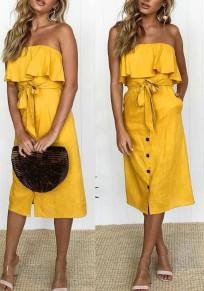 Midi-robe poches à sans manches volantées sans manches volantées épaule épaule dos nu élégante plage jaune