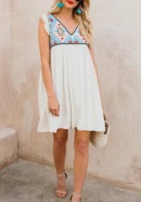 White Ruffle Tribal Print Backless V-neck Bohemian Sweet Mini Dress