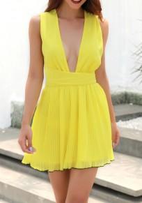 Mini abito coppe A pieghe allacciate con v-collo giallo