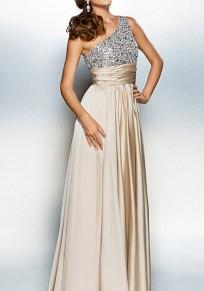Beige Patchwork Irregular Sequin Sleeveless Maxi Dress