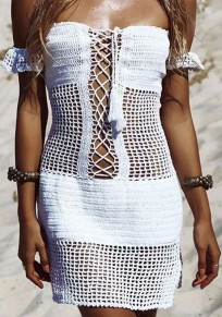 White Drawstring Cut Out Boat Neck Knit Mini Dress