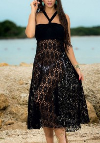 Black Lace Tie Back Floor Length Fashion Maxi Dress