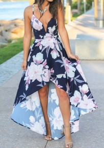 Navy Blue Floral Spaghetti Strap Irregular High-Low V-neck Country Homecoming Party Maxi Dress