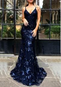 Navy Blue Sequin Spaghetti Strap Backless Mermaid Glitter V-neck Elegant Party Maxi Dress