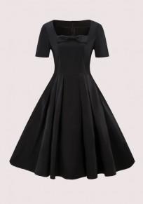 Mi-longue robe patineuse plissé avec noeud papillon col carré manches courtes élégant noir