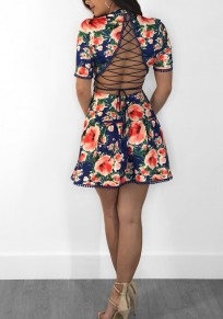 Blue Floral Lace-Up Drawstring High Waisted Buttons Backless Tutu Cute Party Mini Dress