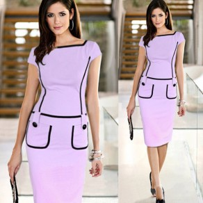 Purple Patchwork Pockets Buttons Zipper Short Sleeve Fashion Midi Dress