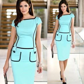 Light Blue Patchwork Pockets Zipper Short Sleeve Fashion Midi Dress