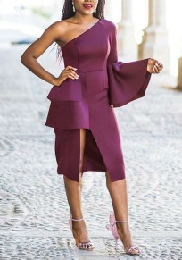 Purple Cascading Ruffle Slit One Off Shoulder Bell Sleeve Bodycon Elegant Midi Dress