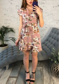 Pink Floral Sashes Ruffle V-neck Short Sleeve Fashion Mini Dress