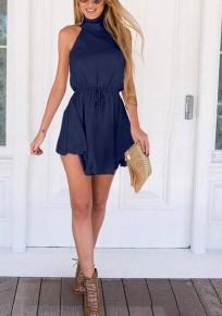 Marineblau Ärmellos Stehkragen Tunnelzug Chiffon Mode Elegant Minikleid Partykleid Strandkleid