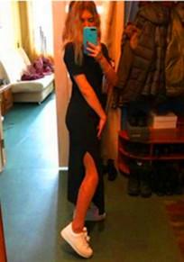 Midi-robe drapée sur le côté col rond sans manches courtes décontracté noir