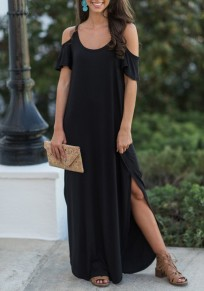 Black Draped Slit Cut Out Sleeve Spaghetti Strap Backless Casual Maxi Dress