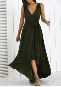 Army Green Draped Sashes High-low V-neck Elegant Party Maxi Dress