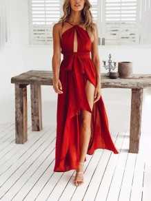 Red Tie Back Sashes Cut Out Fashion Maxi Dress