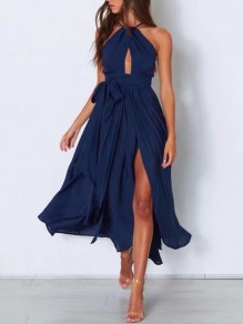 Navy Blue Side Slit Sashes High Waisted Cut Out Flowy Bohemian Maxi Dress