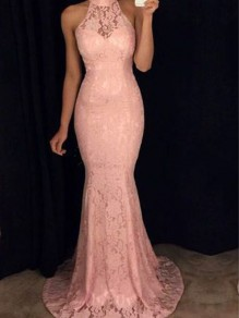 Pink Lace Mermaid Bodycon Bridesmaid Banquet Elegant Graduation Party Maxi Dress