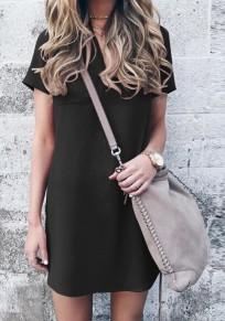 Black Plain V-neck Short Sleeve Casual Mini Dress