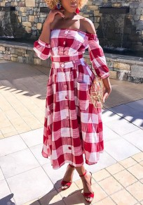 Red Plaid Single Breasted Pockets Pleated Off Shoulder Two Piece Party Maxi Dress