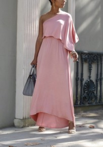 Pink Asymmetric Shoulder Ruffle Irregular Flowy High Waisted Elegant Graduation Party Maxi Dress