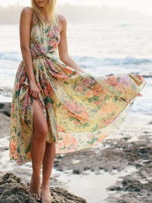 Yellow Floral Cross Back Irregular Ruffle Round Neck Maxi Dress
