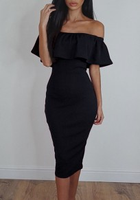 Black Ruffle Boat Neck Elbow Sleeve Fashion Midi Dress