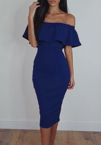 Sapphire Blue Ruffle Boat Neck Elbow Sleeve Fashion Midi Dress