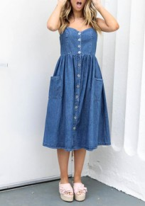 Blue Pleated Buttons Pockets Spaghetti Strap Casual Cute Denim Midi Dress