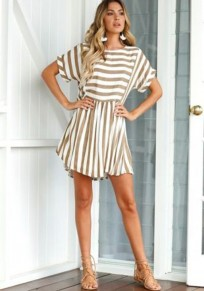 Apricot Striped Print Round Neck Short Sleeve Casual Mini Dress