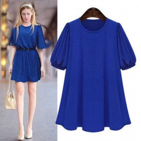 Blue Ruffle Round Neck Elbow Sleeve Casual Mini Dress